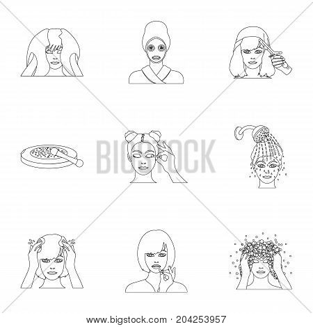 Salon, means, hygiene, and other  icon in outline style.Smile, hairdresser, cosmetic, icons in set collection.