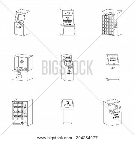 ATM, coffee machine, information apparatus and other types of terminals. Terminals set collection icons in outline style isometric vector symbol stock illustration .