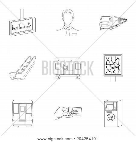 Machine, means, movement and other  icon in outline style.Transport, public, machinery, icons in set collection.
