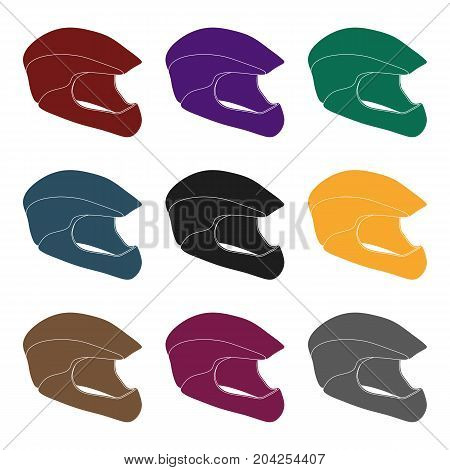 Protective helmet for cyclists. Protection for the head athletes.Cyclist outfit single icon in black style vector symbol stock web illustration.
