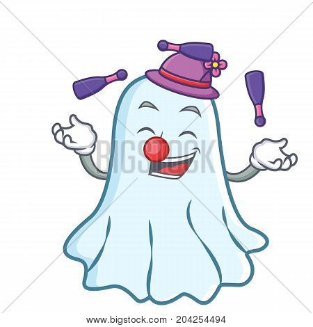 Juggling cute ghost character cartoon vector illustration