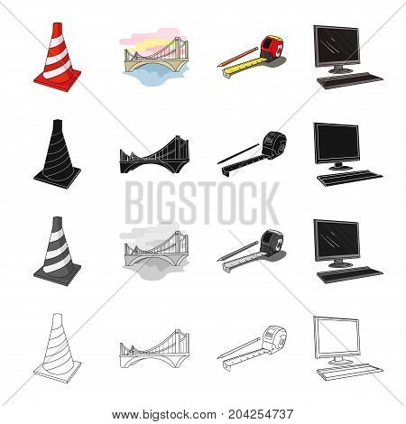 Restrictive striped cone, bridge, city architecture, pencil and roulette, computer. Architecture set collection icons in cartoon black monochrome outline style vector symbol stock illustration .
