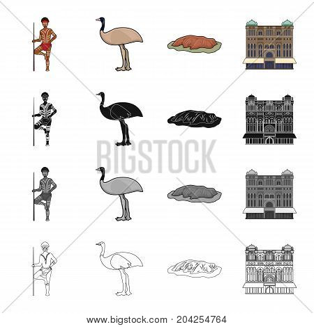 Australian aborigine, emu ostrich, Red Cliff Uluru, Queen Victoria's palace. Australia set collection icons in cartoon black monochrome outline style vector symbol stock illustration .