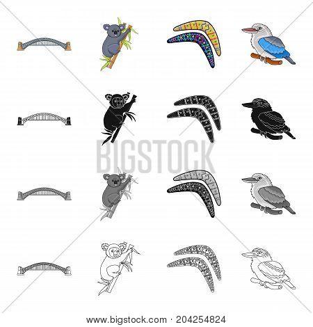 Harbor Bridge, Koala on eucalyptus, Australian boomerang, Kookaburra bird. Australia set collection icons in cartoon black monochrome outline style vector symbol stock illustration .