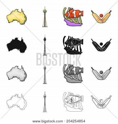 Continent Australia, Sydney tower, coral fish, cricket game. Australia set collection icons in cartoon black monochrome outline style vector symbol stock illustration .