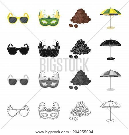 Sunglasses, carnival mask, famous Brazilian coffee, beach umbrella. Brazil set collection icons in cartoon black monochrome outline style vector symbol stock illustration .