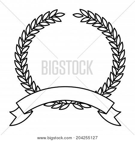 olive branch monochrome crown and ribbon on bottom in closeup vector illustration
