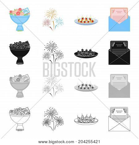 A bouquet of flowers, an invitation to an event, a festive firework, a canape on a plate.Event Service set collection icons in cartoon black monochrome outline style vector symbol stock illustration .