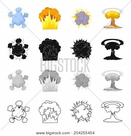 Nuclear explosion, flash, flame. Various types of explosions set collection icons in cartoon black monochrome outline style vector symbol stock illustration .