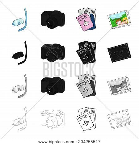 Mask and snorkel, camera, documents passport, photograph. Family holiday set collection icons in cartoon black monochrome outline style vector symbol stock illustration .