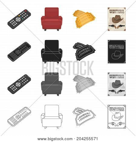 The control panel, a chair in the cinema, a movie ticket, a western poster. Film and Cinema set collection icons in cartoon black monochrome outline style vector symbol stock illustration .