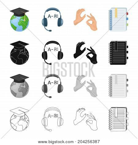 Globe in a hat, interpreter's headphones, gestures with hands, notepad with bookmarks. Interpreter set collection icons in cartoon black monochrome outline style vector symbol stock illustration .