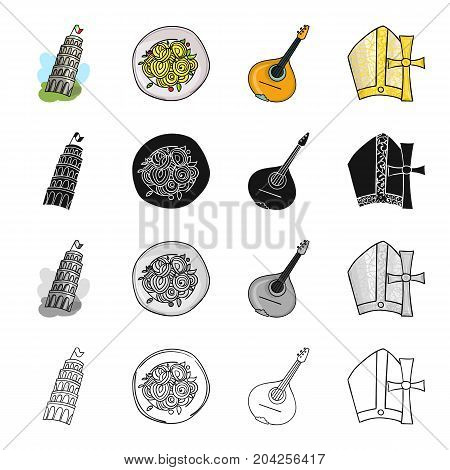 The Leaning Tower of Pisa, Italian pasta, mandolin, an attribute of Catholicism. Italy set collection icons in cartoon black monochrome outline style vector symbol stock illustration .