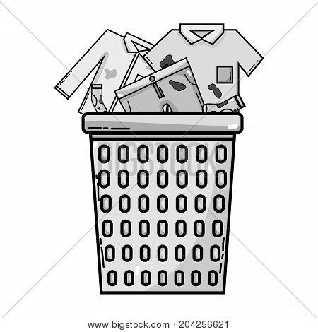 grayscale basket design with dirty clothes inside vector illustration