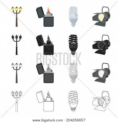 Street lamp, a lighter's flame, an electric bulb, a floodlight. Light source set collection icons in cartoon black monochrome outline style vector symbol stock illustration .