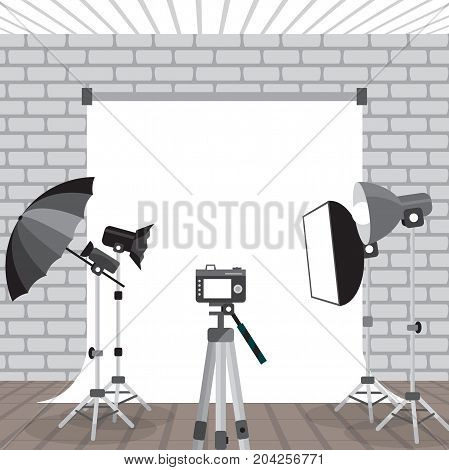 Photo studio equipment. Flashlights, photo umbrellas, photo racks and background for pictures. Vector flat cartoon illustration