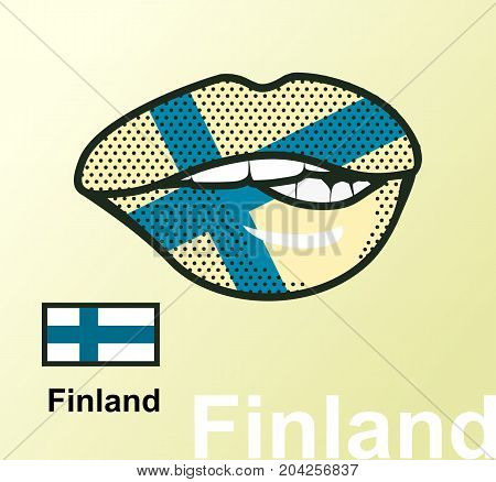 Vector illustration of lip painted Finland flag isolated foreign language national symbols