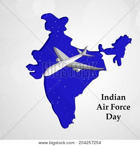 illustration of Aircraft and Indian map background with Indian Air Force Day text on the occasion of Indian Air Force Day