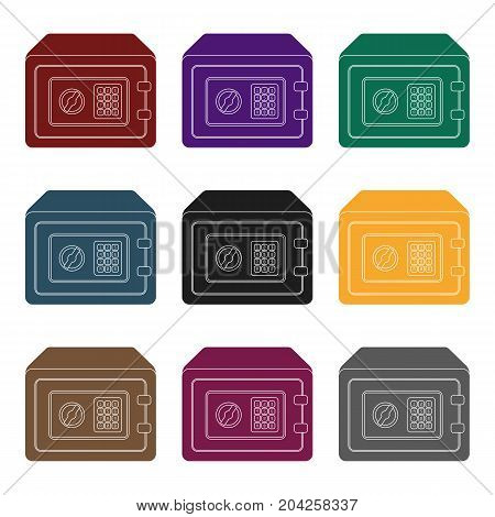 Realistic Steel safeSafe under combination lock. Metal box is hard to open.Detective single icon in blake style vector symbol stock web illustration.