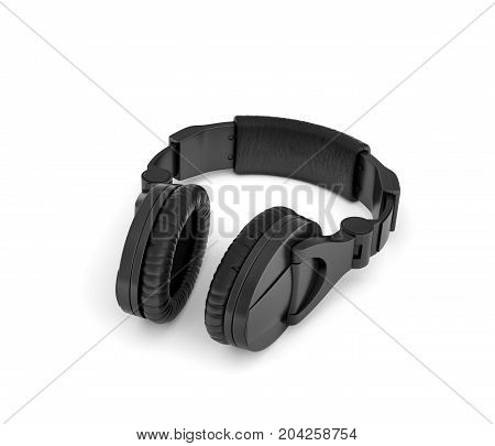 3d rendering of jet black wireless headphones with over-the-ear design lying on white background. Music fan. Listen to beat. Audio tech.