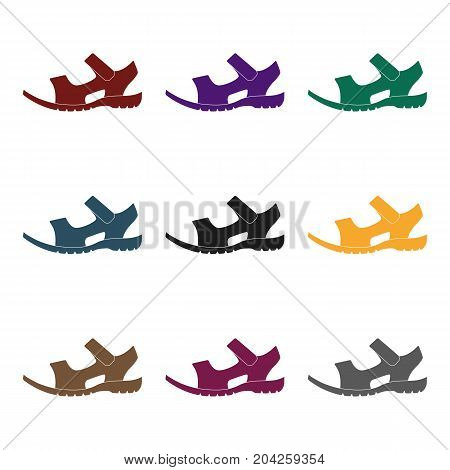 Men summer brown leather sandals on a bare foot.Different shoes single icon in black style vector symbol stock web illustration.