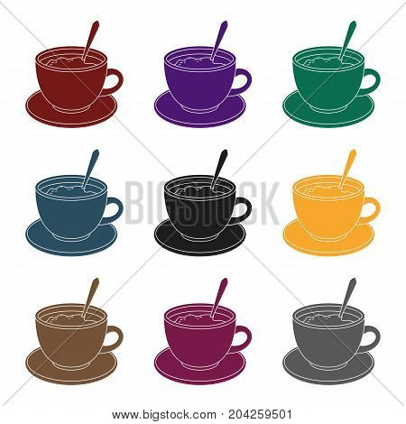Coffee cup americano.Different types of coffee single icon in black style vector symbol stock illustration .