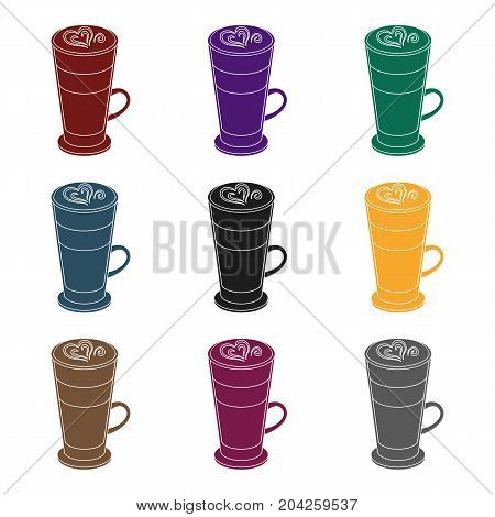 Cup of coffee macchiato with foam. Different types of coffee single icon in black style vector symbol stock illustration .