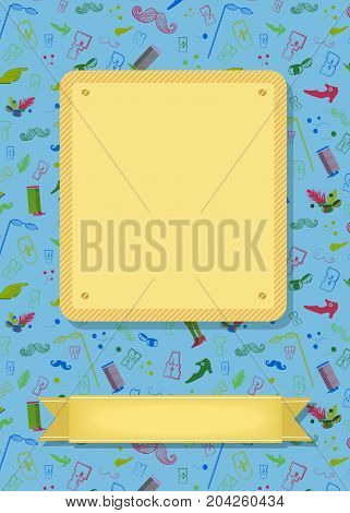 Vintage greeting card. Retro colorful items - boots mustaches and others. Yellow banners for custom text. Blue background