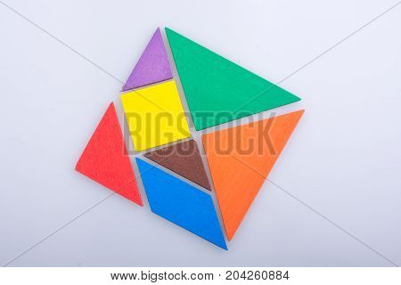 Pieces Of A Square Tangram Puzzle