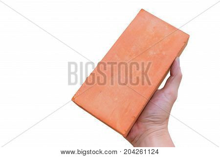 Worker Hand Hold Construction Brick Isolated On White Cut With Path