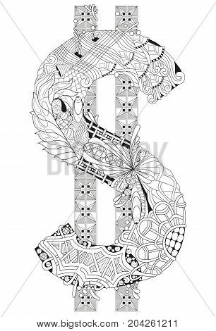 Hand-painted art design. Adult anti-stress coloring page. Black and white hand drawn illustration for coloring book