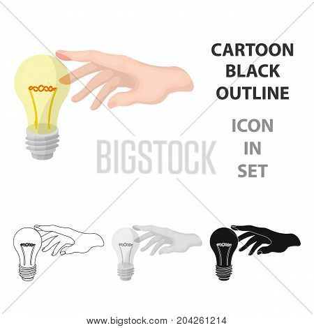 Replacement of an electric bulb. Incandescent lamp single icon in cartoon style vector symbol stock illustration .