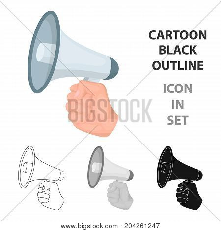 Speaker for voice enhancement. Megaphone in hand single icon in cartoon style vector symbol stock illustration .