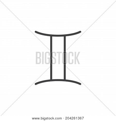 Gemini zodiac sign line icon, outline vector sign, linear style pictogram isolated on white. Astrology symbol, logo illustration. Editable stroke.