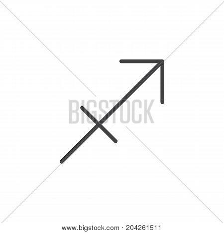 Sagittarius zodiac sign line icon, outline vector sign, linear style pictogram isolated on white. Astrology symbol, logo illustration. Editable stroke.