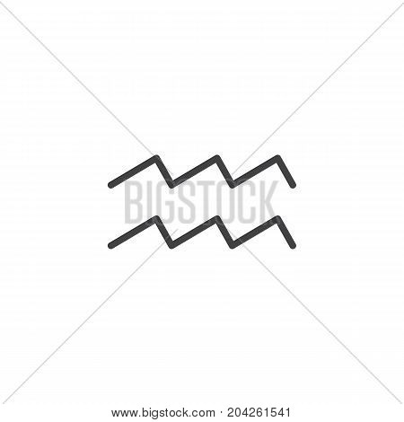 Aquarius zodiac sign line icon, outline vector sign, linear style pictogram isolated on white. Astrology symbol, logo illustration. Editable stroke.