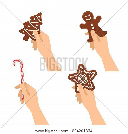 Human hands hold christmas sweet symbols: chocolate cookies, candy cane. Flat illustration of male and female hands with traditional xmas gifts: gingerman, star, new year tree. Vector design elements.