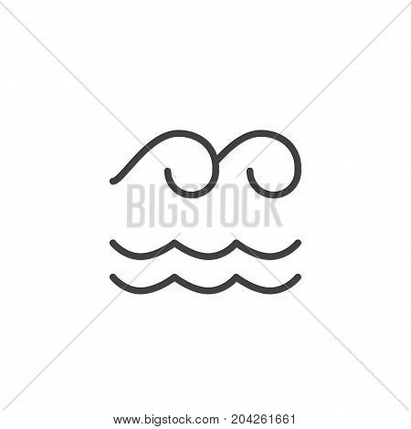 Water nature element line icon, outline vector sign, linear style pictogram isolated on white. Astrology symbol, logo illustration. Editable stroke.