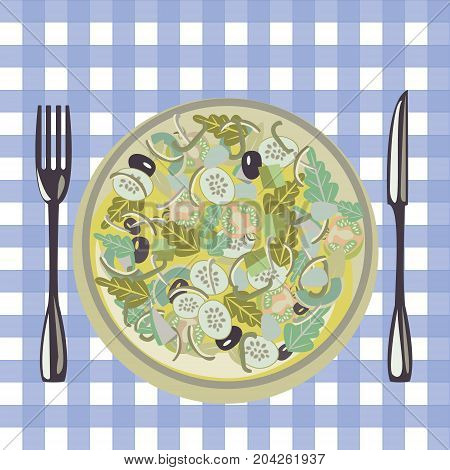 vector vegetables salad cartoon style Salad bowl. Healthy fresh green food in a plate and vegetables on a table cloth background.