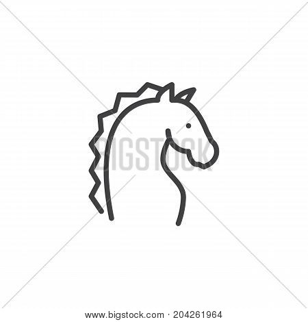 Year of horse line icon, outline vector sign, linear style pictogram isolated on white. Astrology symbol, logo illustration. Editable stroke.