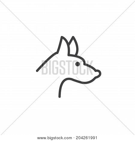 Year of dog line icon, outline vector sign, linear style pictogram isolated on white. Astrology symbol, logo illustration. Editable stroke.