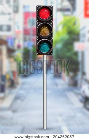 traffic light in blur road in the urban metro city street background
