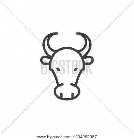 Year of ox line icon, outline vector sign, linear style pictogram isolated on white. Astrology symbol, logo illustration. Editable stroke.