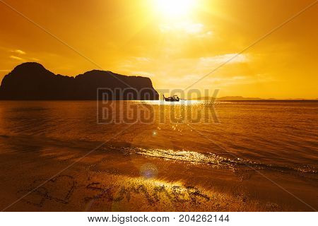 Dramatic Sea Ocean Sunset Long Beach Landscape Calm Quiet Summer Holiday Place