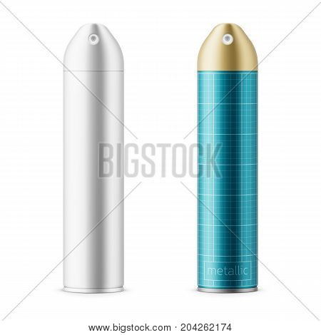 White and color metallic sprayer cans for air freshener, hairspray, deodorant. 300 ml. Realistic packaging mockup template with sample design. Front view. Vector illustration.