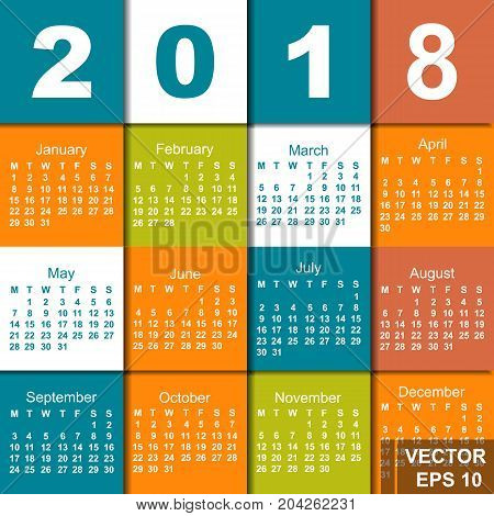 The Calendar. Date. New Year. 2018. Year Of The Dog. Card.