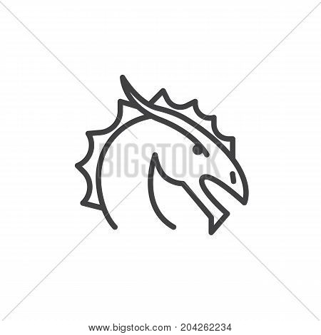 Year of dragon line icon, outline vector sign, linear style pictogram isolated on white. Astrology symbol, logo illustration. Editable stroke.