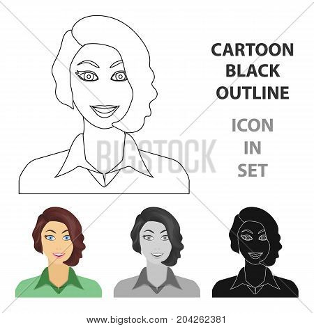 The face of a woman with a hairdo. Face and appearance single icon in cartoon style vector symbol stock illustration .