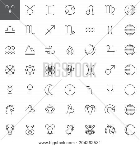 Astrology line icons set, outline vector symbol collection, linear style pictogram pack. Signs, logo illustration. Set includes icons as planet, zodiac, moon, earth, solar, neptune, star aries