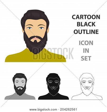 The face of a man with a beard and mustache. Face and appearance single icon in cartoon style vector symbol stock illustration .